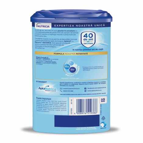 Imagine 2APTAMIL 1: Lapte praf de inceput, 800 gr, 0-6 luni