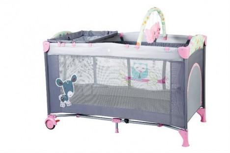 Imagine 1Patut Pliant Cu 2 Nivele Sleepwell Pink