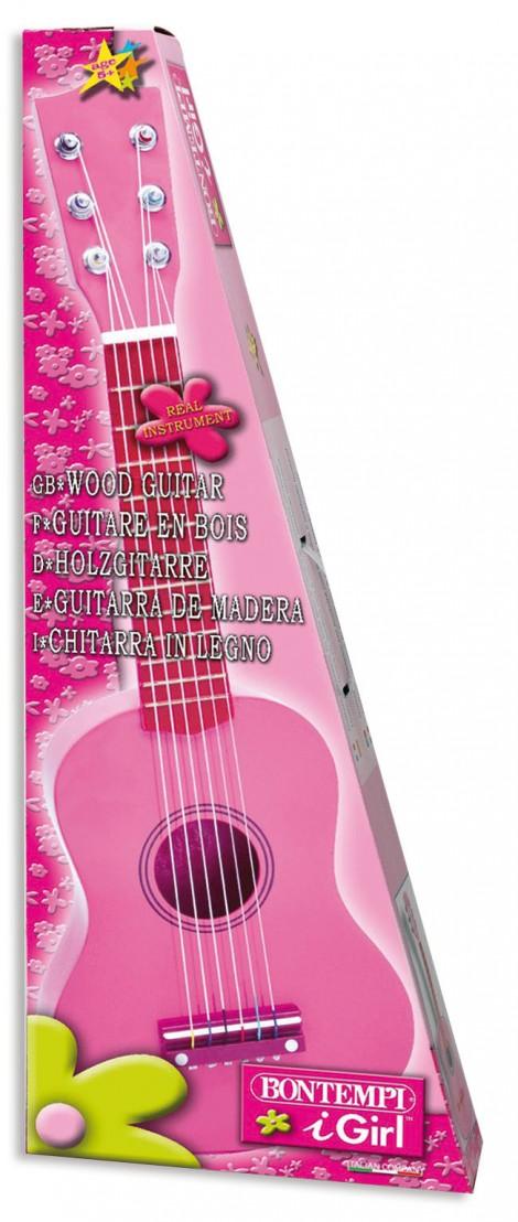 Imagine 2Chitara roz din lemn cu stickere