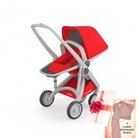 Imagine 1Carucior Greentom Reversible 100% Ecologic - Grey Red