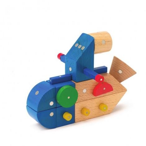 Imagine 2Joc magnetic din lemn Mijloace de transport 110 piese
