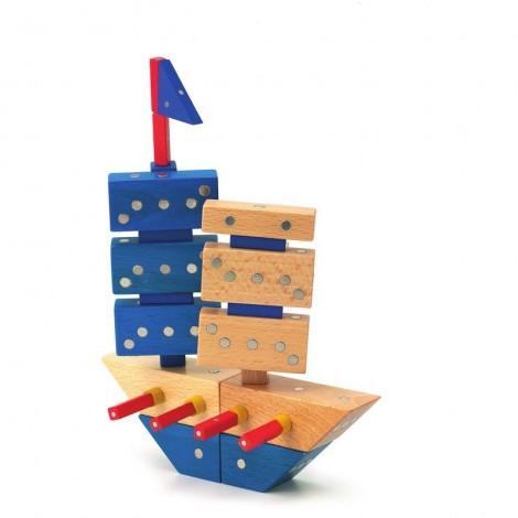 Imagine 9Joc magnetic din lemn Mijloace de transport 110 piese