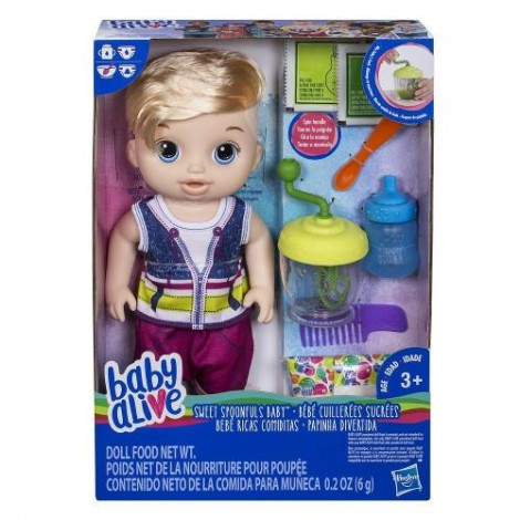 Imagine 1Papusa Bebelus Baietel Blond Baby Alive Sweet Spoonfuls