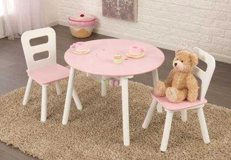 Imagine 1Set masuta si 2 scaune Pink & White