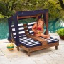 Imagine 1Sezlong Double Chaise Lounge Espresso & Navy