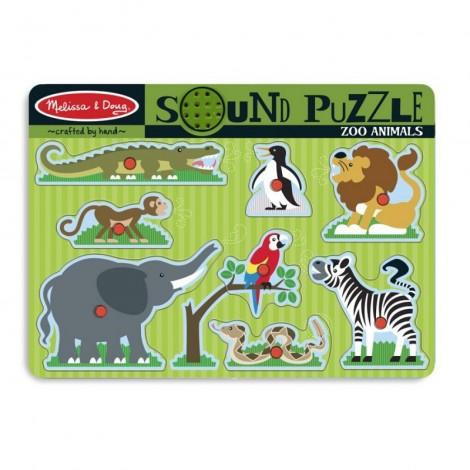 Imagine 1Puzzle de lemn cu sunete Animale de la Zoo