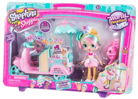 Imagine 2Shopkins Set papusa cu scooter inghetata