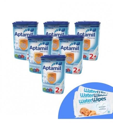 Imagine 1Pachet 6 X Lapte Praf Aptamil Junior 2+, 800g, 2ani+ Si 3 X Servetele Umede Pentru Bebelusi, WaterWipes, 60 Buc