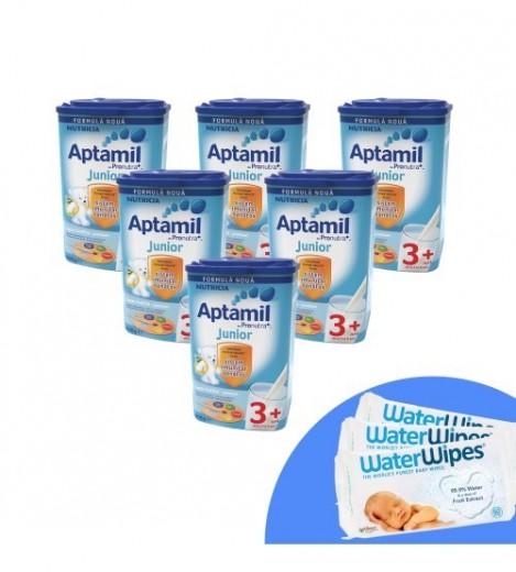Imagine 1Pachet 6 X Lapte Praf Aptamil Junior 3+, 800g, 3ani+ Si 3 X Servetele Umede Pentru Bebelusi, WaterWipes, 60 Buc