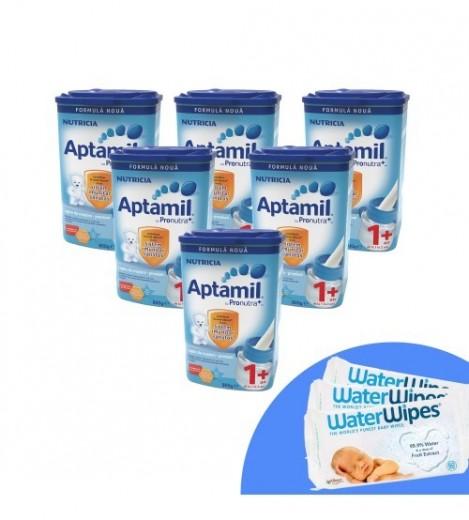 Imagine 1Pachet 6 X Lapte Praf Aptamil Junior 1+, 800g, 12luni+ Si 3 X Servetele Umede Pentru Bebelusi, WaterWipes, 60 Buc