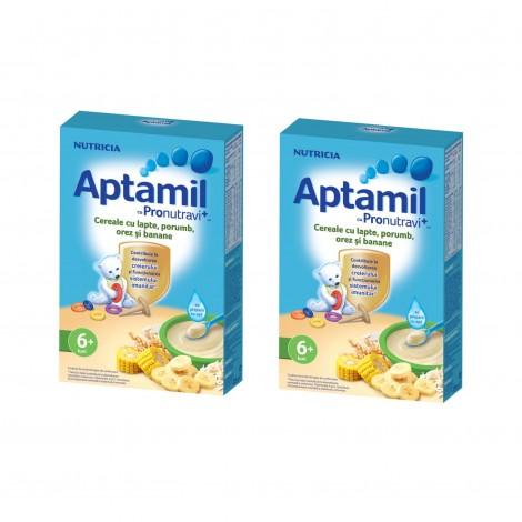 Imagine 1Pachet 2 x Aptamil Cereale cu lapte, Porumb, orez si banane, 225g, 6luni+