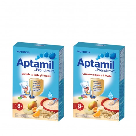 Imagine 1Pachet 2 x Aptamil Cereale cu lapte si 5 fructe, 225g, 8luni+
