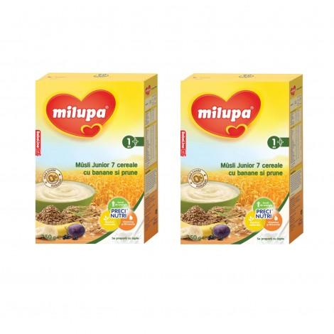 Imagine 1Pachet 2 x Cereale fara lapte, Milupa Musli Jr 7 cereale cu banane si prune, 250g, 12luni+