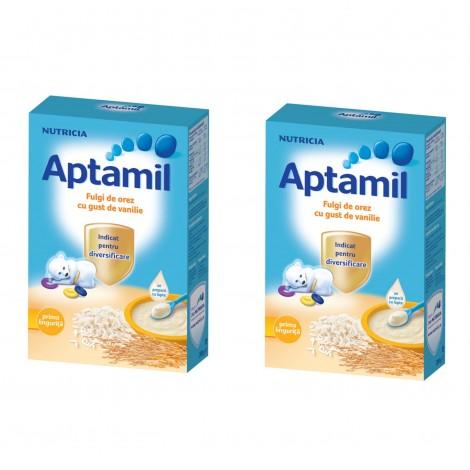 Imagine 1Pachet 2 x Cereale fara lapte Aptamil Fulgi de orez cu gust de vanilie, 200g, 4luni+