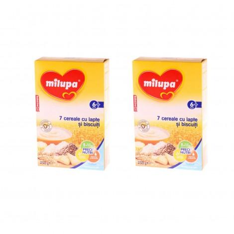 Imagine 1Pachet 2 x Milupa 7 Cereale cu lapte si biscuiti, 250g, 6luni+