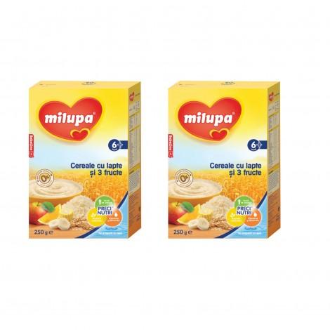 Imagine 1Pachet 2 x Milupa Cereale cu lapte si 3 fructe, 250g, 6luni+
