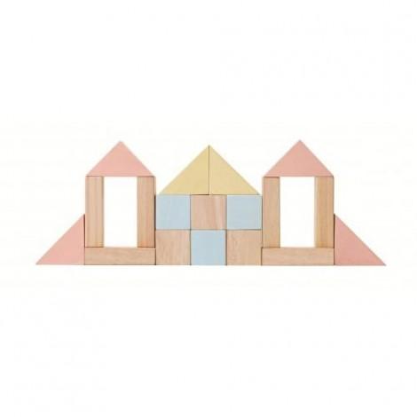 Imagine 2Set de constructie cu 40 de blocuri din lem, culoare pastel