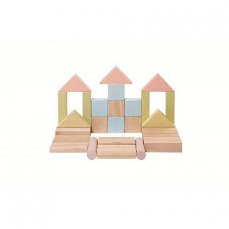 Imagine 3Set de constructie cu 40 de blocuri din lem, culoare pastel