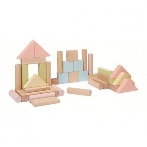 Imagine 4Set de constructie cu 40 de blocuri din lem, culoare pastel