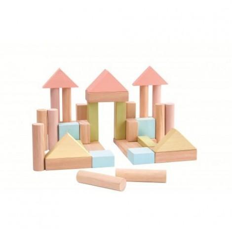 Imagine 1Set de constructie cu 40 de blocuri din lem, culoare pastel