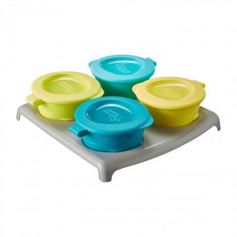 Imagine 2Recipiente de stocare hrana la congelator + tavita, Galben/Albastru, 4 buc
