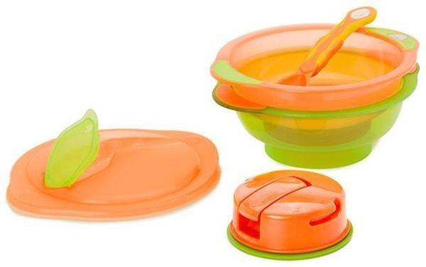 Set 2 boluri cu capac si lingurita Orange