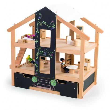 Imagine 2Casuta de papusi din lemn mobilata