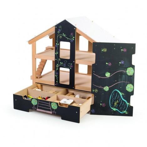 Imagine 5Casuta de papusi din lemn mobilata