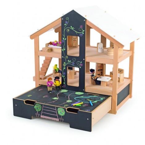 Imagine 1Casuta de papusi din lemn mobilata
