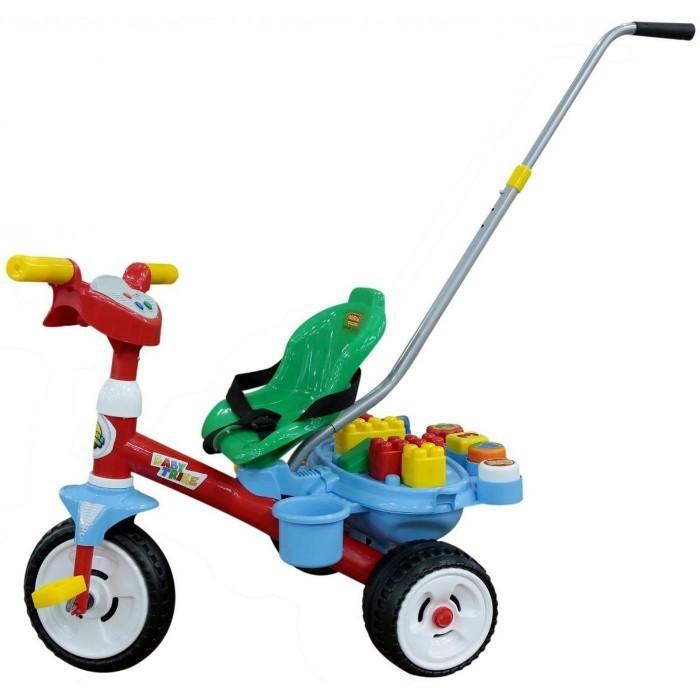 Tricicleta Baby Trike cu maner si set de cuburi