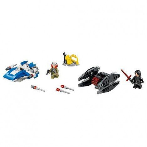 Imagine 2LEGO Star Wars A-Wing contra TIE Silencer Microfighters