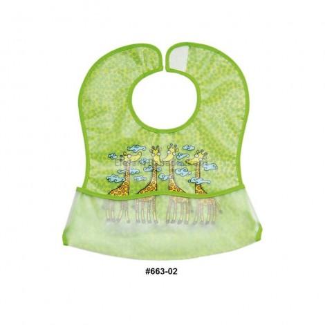 Imagine 1Baveta plastic moale 2/set 35x32 cm Girafa Verde