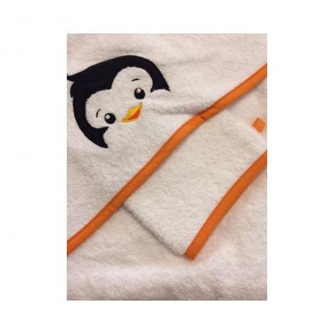 Imagine 1Prosop brodat cu manusa bebelus Lilly Pinguin 2 piese